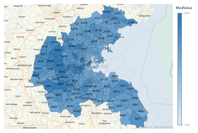 Figure 1 Plot of log-transformed median housing values for census tracts in Boston